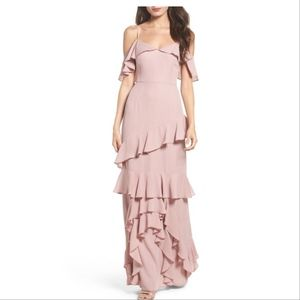 NWT Danielle Off the Shoulder Tiered Crepe Dress